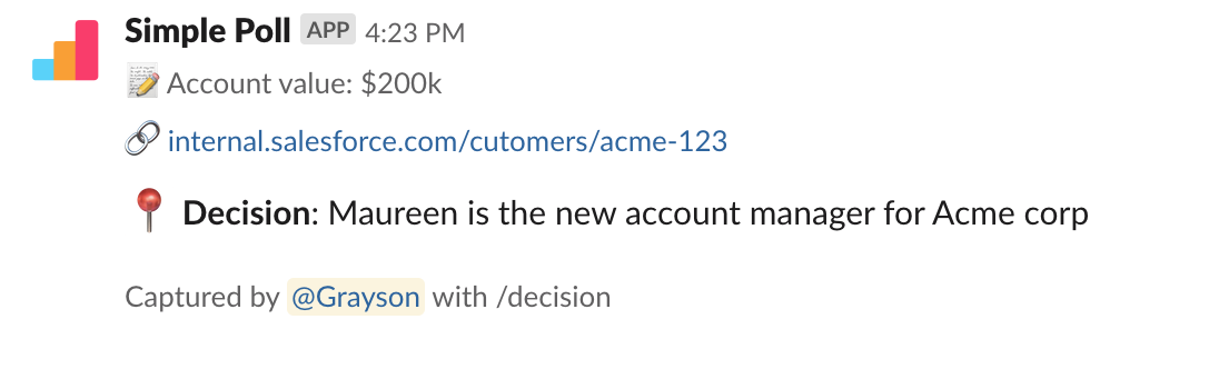 Decision to make Maureen the account manager